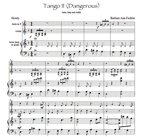 Tango II - trio for horn, violin and piano sheet music solo and ensemble contest sheet music