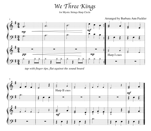 We Three Kings ~ sheet music for two or more harps
