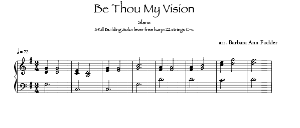 Be Thou My Vision -  lever harp sheet music - intermediate