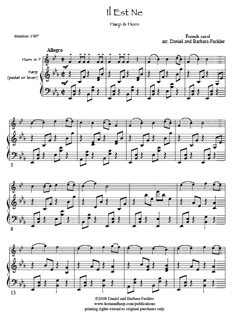 Sheet music for harp and violin, or viola or cello Christmas music