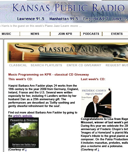 CD of the week for National Public Radio - solo harp music