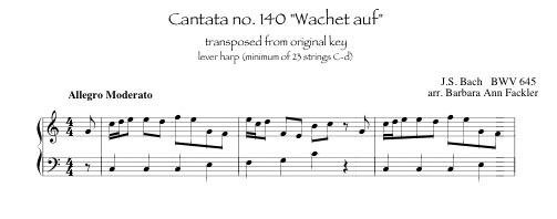 Wachet auf,  Bach transcribed for intermediate pedal and lever harp.