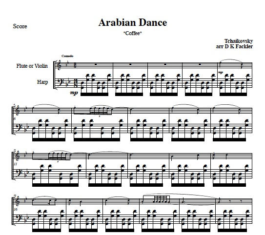 flute and harp sheet music Arabian Dance from Nutcracker: flute solo