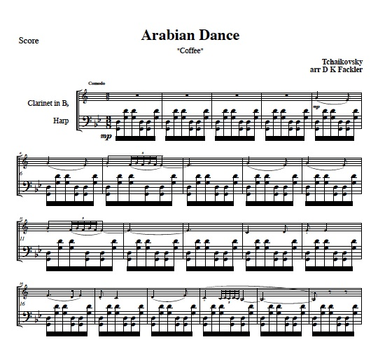 Coffee, Arabian Dance for clarinet solo