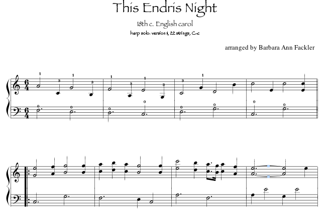 This Endris Night: harp solo Christmas Carol sheet music