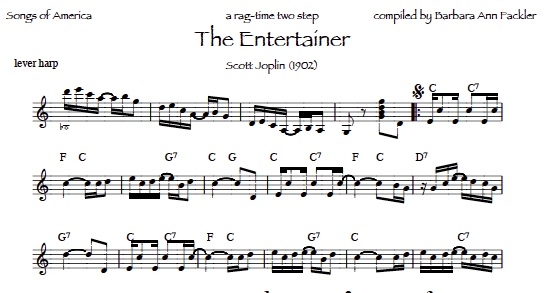 The Entertainer by Scott Joplin sheet music: lead sheets formatted for harp