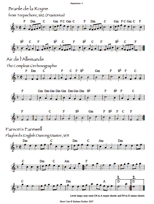 Parson's Farewell sheet music: lead sheets formatted for lever harp