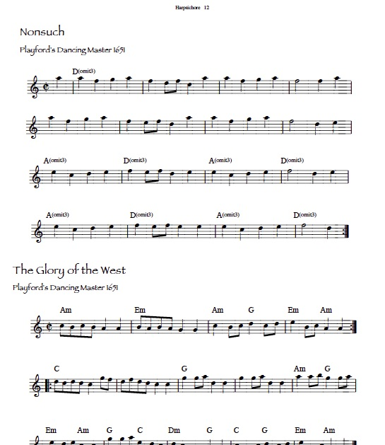 Nonsuch, The Glory of the West ~ sheet music: lead sheets formatted for lever harp