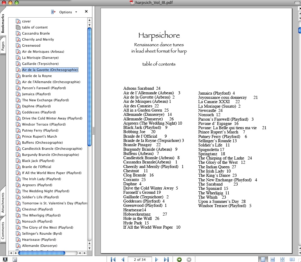 Renaissance dance tunes: lead sheets formatted for lever harp