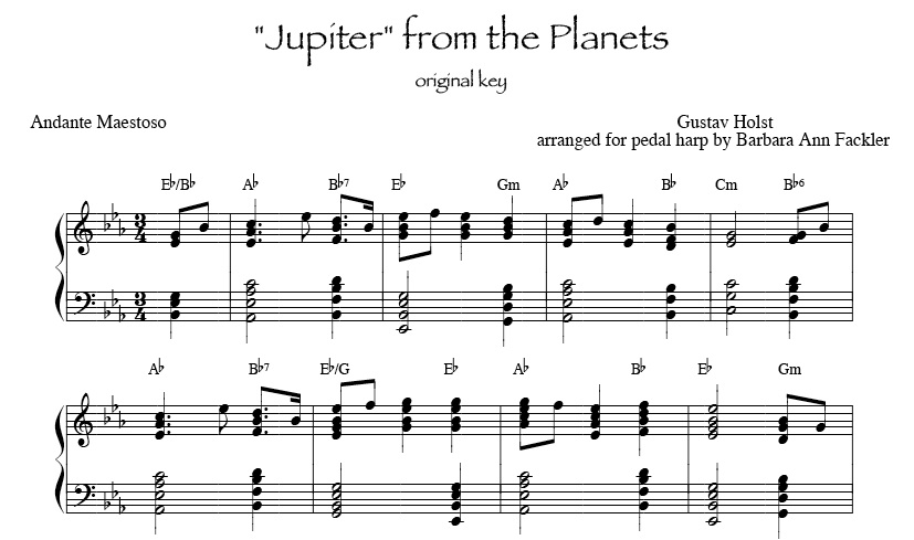 Jupiter from The Planets for harp solo