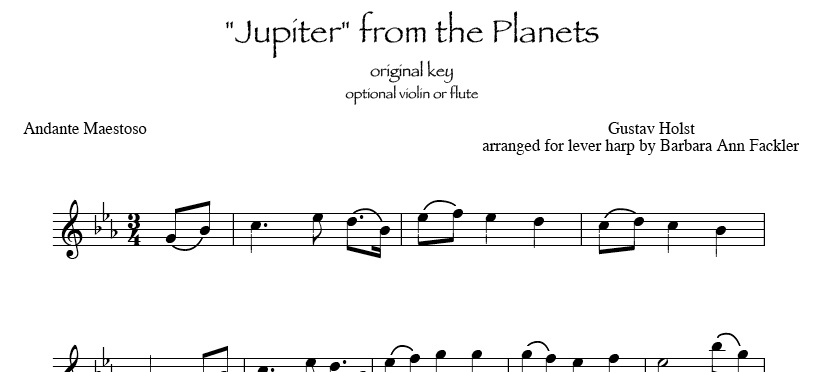 sheet music for Jupiter: harp and violin