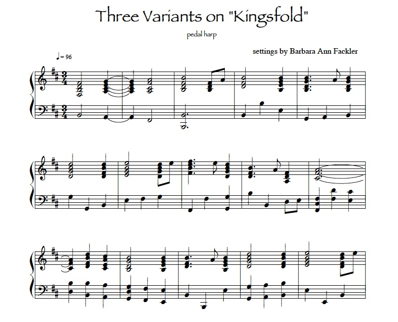 Three Variants on Kingsfold: pedal harp sheet music