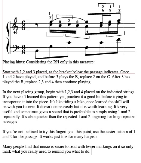 free fingering hints for harpists - sheet music