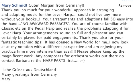 sheet music review from German harpist
