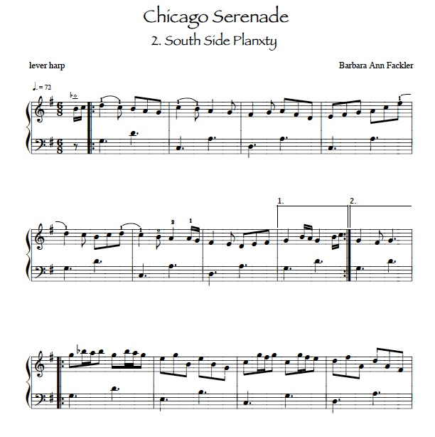 South Side Planxty: in honor of Chicago Irish musicians: sheet music for lever harp