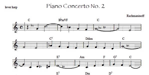 lever harp sheet music - lead sheet for Rachmaninoff piano concerto