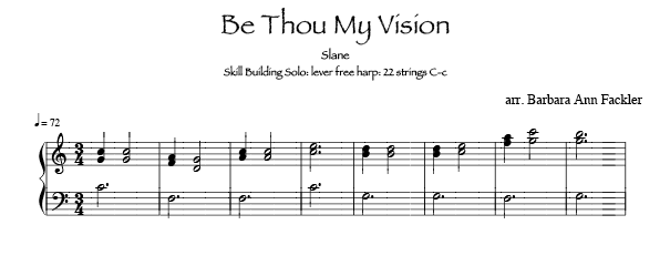 Be Thou My Vision for 22 string harps, sheet music for Harpsicle size harps