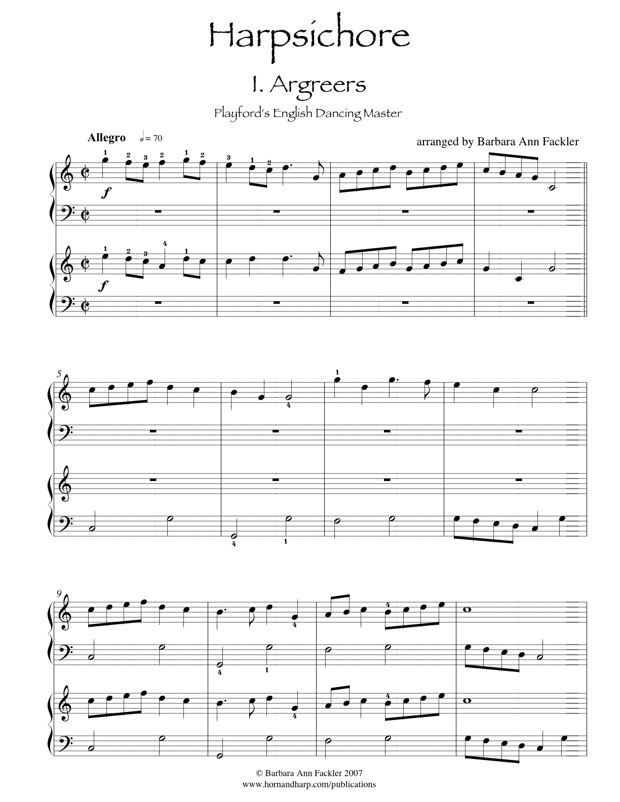 Wedding Processional music: Argreers (The Wedding Night) for two harps: sheet music