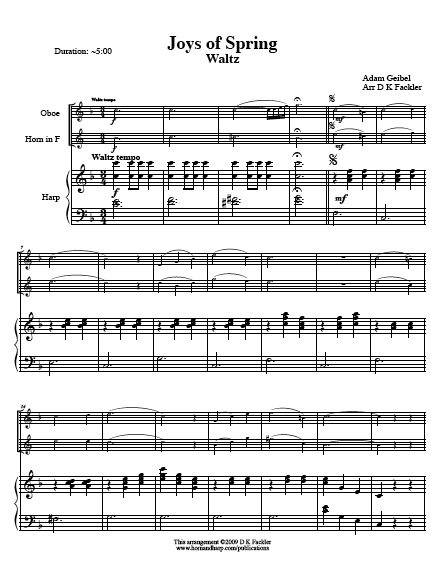 Sheet music for harp, violin and French horn trio