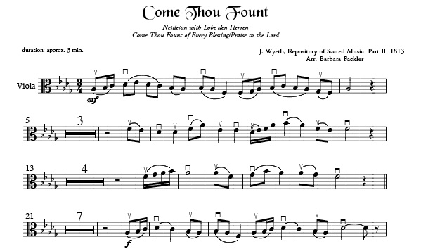 Come Thou Fount of Every Blessing harp sheet music ~ sacred sheet music viola