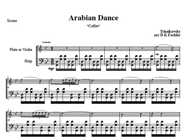Arabian Dance for lever harp and violin or harp and flute