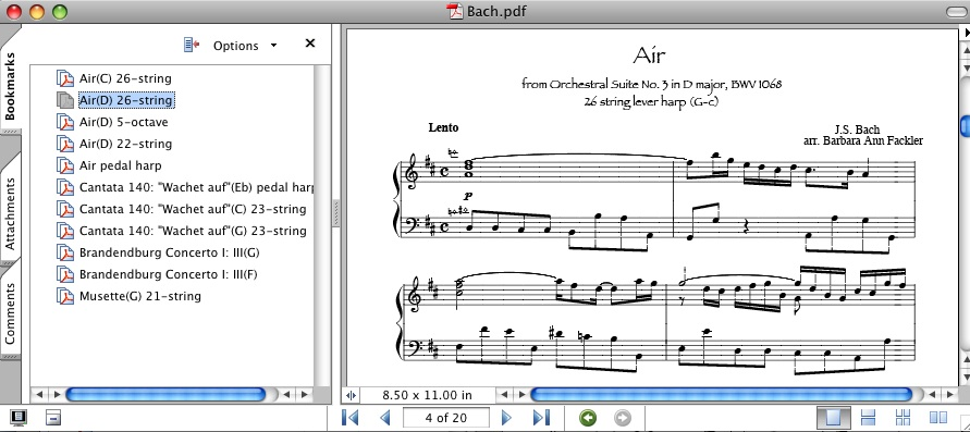 music of Bach for lever harp and pedal harp: sheet music ~ harp music for iPad ~ music for Beginning in the Middle