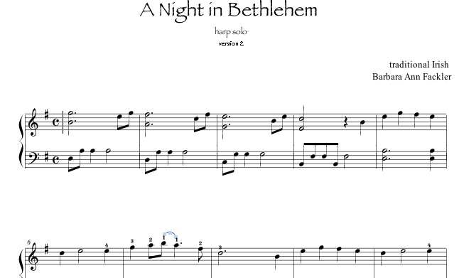 harp ensemble: A Night in Bethlehem arrangement sheet music full score and parts