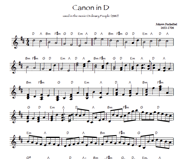 Pachelbel Canon for harp sheet music