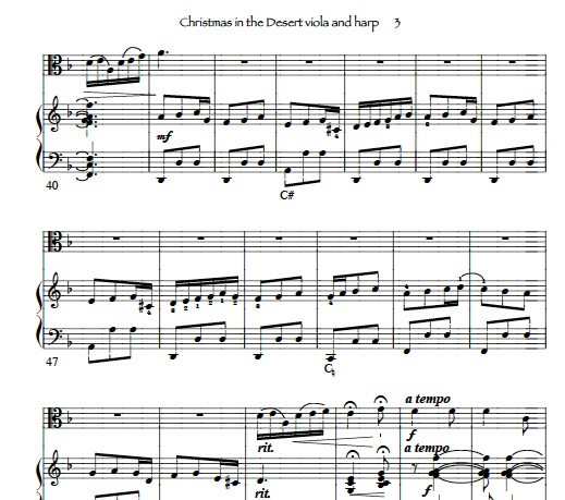 harp and viola Christmas sheet music - We Three Kings for viola solo