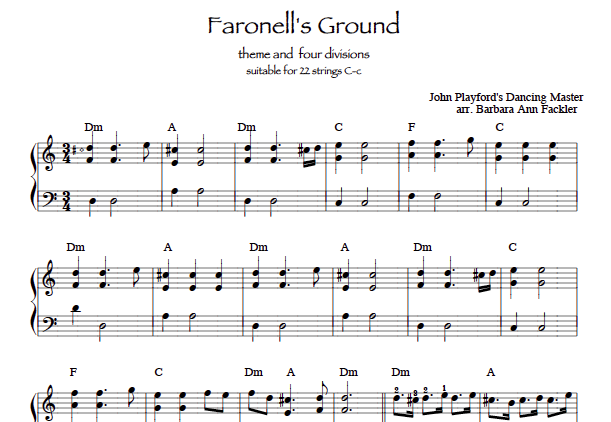 Faronell's Ground sheet music lever harp