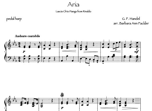 Handel Aria from Rinaldo: sheet music for lever harp and pedal harp arranged by Barbara Ann Fackler