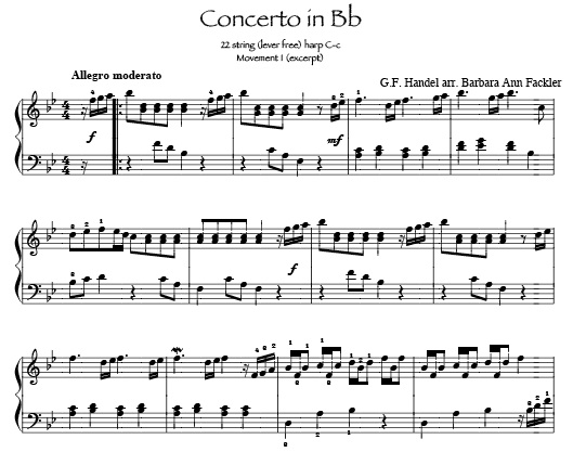 Handel Concerto: Classical lever harp sheet music