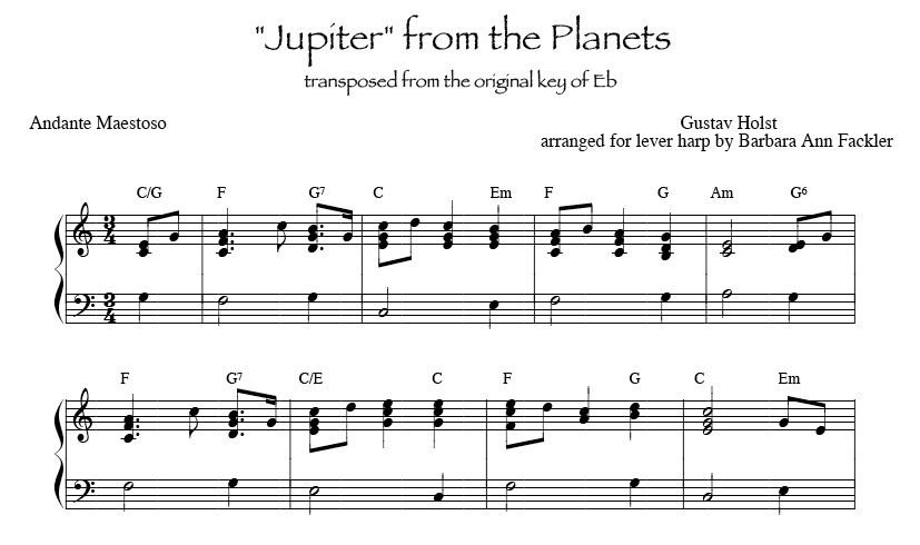 Jupiter from the Planets, key of C for lever free harps