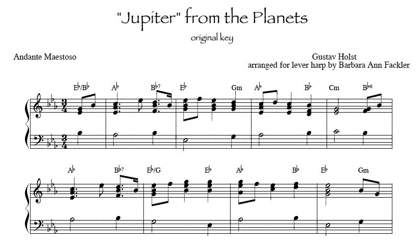 Jupiter from the Planets, for intermediate harp
