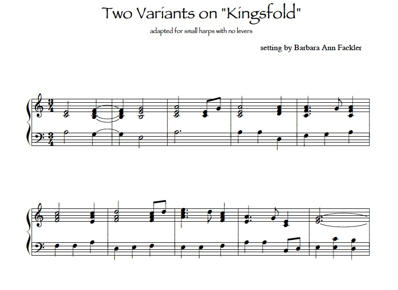 Star of County Down, Kingsfold, variants:  sheet music for lever harp