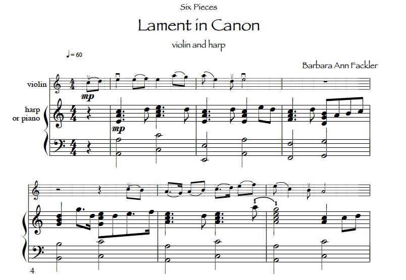sheet music ~ lament in Canon for harp and viola ~
