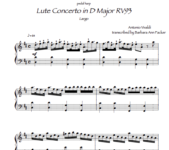 Vivaldi: Lute Concerto sheet music for harp