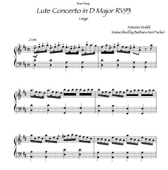 Lute Concerto by Vivaldi for small lever harp sheet music