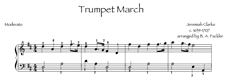 Trumpet March by Clarke for intermediate harp Wedding Processional sheet music