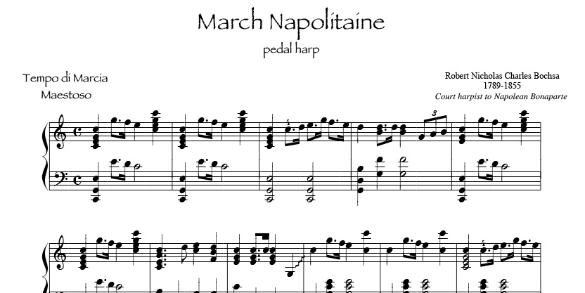 March Napolitaine by Bochsa for intermediate pedal or lever harp Wedding recessional sheet music