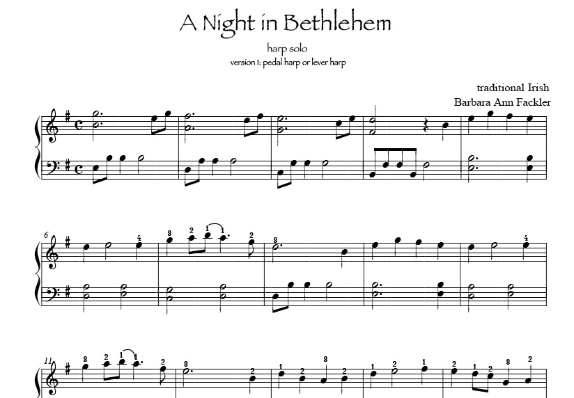 sheet music pedal harp or lever harp: A Night in Bethlehem - Irish Christmas music
