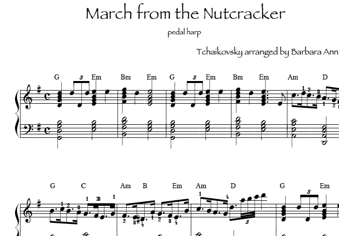 sheet music pedal harp or lever harp: March from the Nutcracker