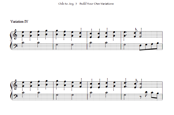 Ode to Joy for small lever free harp solo sheet music