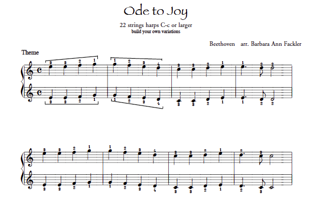 skill building harp sheet music: Ode to Joy