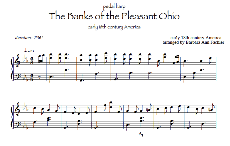 lever harp sheet music ~ The Banks of the Pleasant Ohio ~