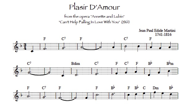 sheet music for lever harp Plasir d'Amour and Can't Help Falling in Love