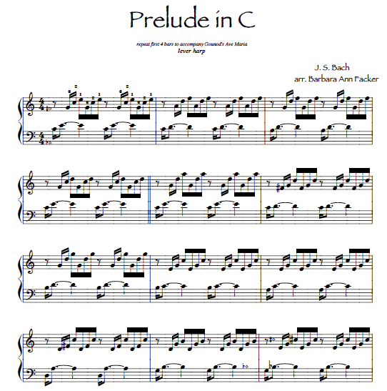 JS Bach ~ Prelude in C for lever harp sheet music