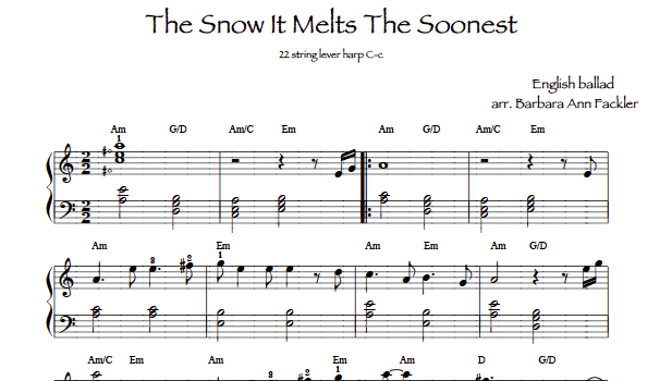 sheet music for harp The Snow It Melts the Soonest ~ harp sheet music