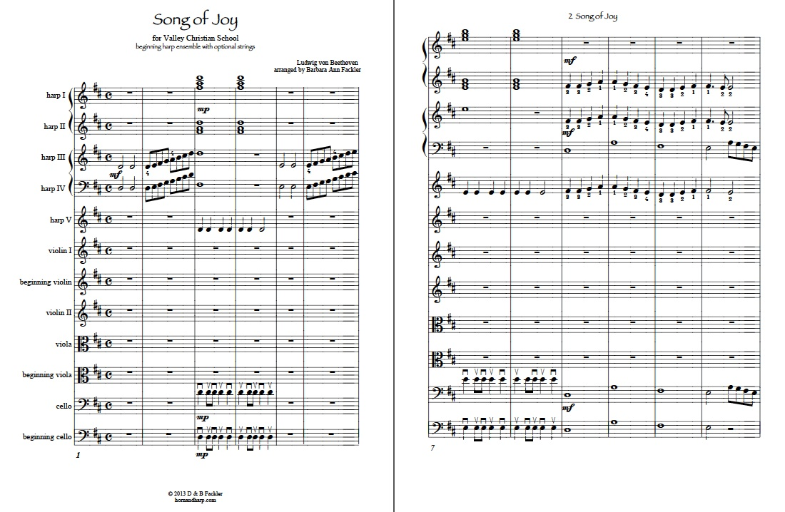sheet music ~ Beethoven's Song of Joy ~  lever harp circle music