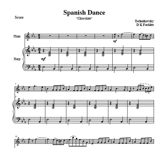 Spanish Dance from Nutcracker for pedalharp and violin or harp and flute